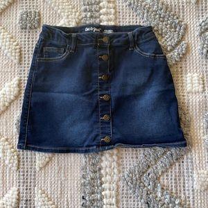 Girls knit denim skirt.